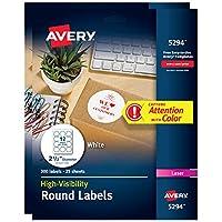 Avery 高視認性 ホワイト 2.5 丸型ラベル 2 Pack