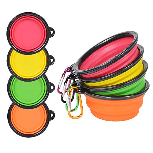 PetBonus 4-Pack Silicone Collapsible Dog Bowls,...
