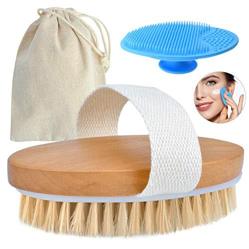 Körperbürste Naturborsten, Trockenbürste KörperDry Body Brush Cellulite Massage Dusch Bürste Holz Peeling Haut Lymphdrainage Badebürste mitSilikon Gesichtsbürste und Leinentasche