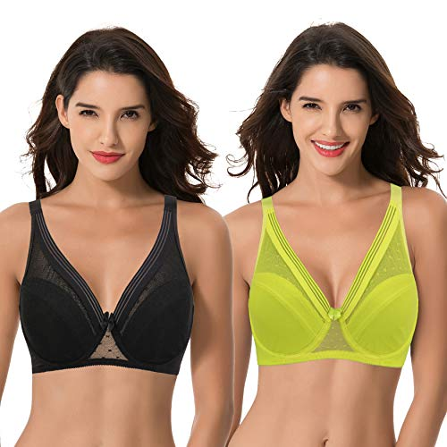 Curve Muse Women's Plus Size Unlined Minimizer Full Coverage Mesh Underwire Bra-2pack-BLACK,NEON YELLOW-40DDDD