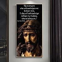 イエスの肖像画神の息子キャンバス絵画キリスト教の宗教芸術のポスター寝室のリビングルームの家の装飾壁画-60x120cm  フレームなし