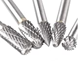 5 Pcs Carbide Rotary Burr Set with 6 mm(1/4 Inch) Shank and 8mm Head, Acrux7 Tungsten Carbide Double Cut Rotary Burr 1/4 Inch Shank Die Grinder Bits for DIY Woodworking, Metal Carving, Engraving, Dril