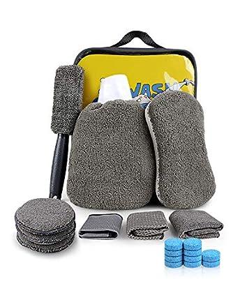 EASY EAGLE Set Limpieza Coche, 10Pcs Kit de Lavado de Autos , Microfibra Paños Guante Almohadillas de Pulido Esponja Cepillo para Llantas, Cepillo de Ventilación