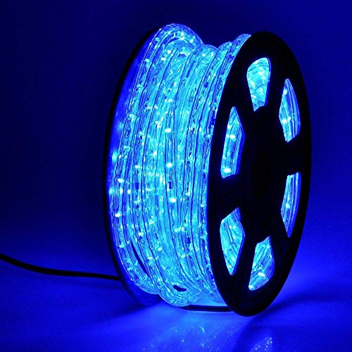 50ft 360 LED Waterproof Rope Lights,110V Connectable Indoor Outdoor Blue Rope Lights for Deck, Patio, Pool, Camping, Bedroom Decor, Landscape Lighting and More (Blue)