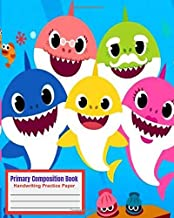 Primary Composition Book handwriting practice paper: With Story Space and Dotted Mid Line Grades K-2 baby shark Notebook For Girls boys