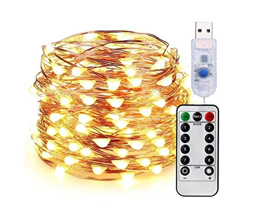 Fairy String Lights, 8 Modes USB Plug in Powered Lights Waterproof Outdoor/Indoor Copper String Lights with Remote Timer for Bedroom (Warm White)-50LED/5M 50led/5m