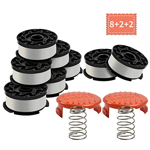 Generep Weed Eater Spool for Black and Decker AF-100,30 Feet/0.065 Inches Line String Trimmer Autofeed System Replacement Spool (8 Spool,2 Cap,2 Spring)
