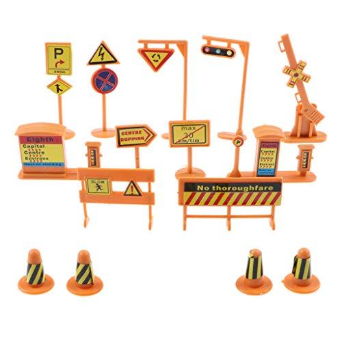 chiwanji 14x Escena de La Calle Señal de Tráfico Poste Indicador de Barricada Modelo 1/50 para Niños Juguete Divertido