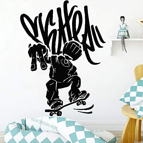 wZUN Calcomanía de Pared Creativa monopatín Deportes Calle Vinilo Autoadhesivo Pegatina de Pared Adolescente habitación Artista decoración del hogar 63X46 cm