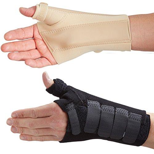 Actesso Handgelenkschiene mit Daumenschiene - Ideal Daumenbandage für Kahnbeinfraktur, de Quervain\'s, oder Verstauchungen (Schwarz, Groß Rechts)