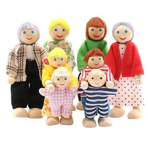 SumDirect - Set di 8 persone in legno per la casa delle bambole, per la famiglia, per la casa delle bambole, giocattolo per bambini e ragazze