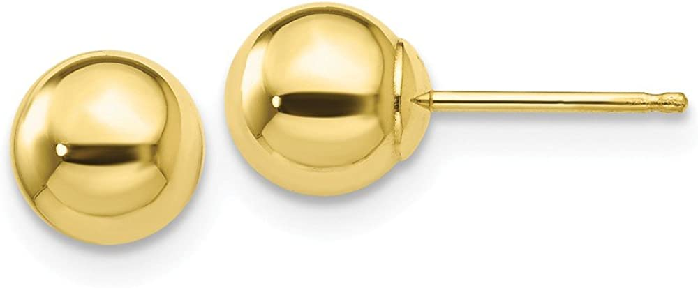 10k Yellow Gold 6mm Ball Post Stud Earrings Button Fine Jewelry For Women Gifts For Her