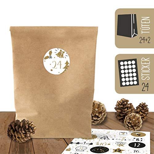 bigdaygraphix 24 Adventskalender Kraftpapiertüten zum Befüllen und 24 weihnachtliche Aufkleber (Set 1)