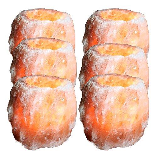 Biova 6X Salzkristall -Teelichthalter Salzlampe handgeschlagen