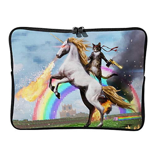 Cat Riding Rainbow Unicorn Laptop Durable Water Resistant High Capacity Zipper Multi-Functional Stationery 10-17 Inch for Men Women White 15 Zoll