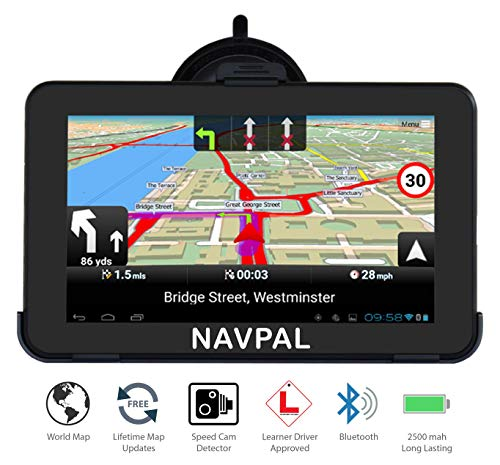 7 Inch Sat Nav GPS Navigation for Car & Truck with World Maps and Lifetime Updates