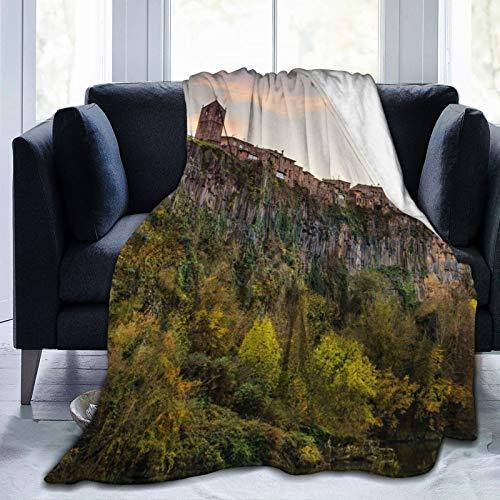 Affordable shop Manta de forro polar de 127 x 152 cm de Castellfollit De La Roca Catalonia Gorod Home franela suave y cálida manta de felpa para cama/sofá/oficina/camping