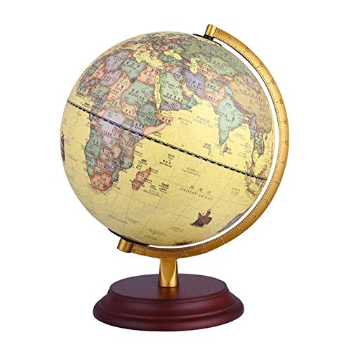 ZSAIMD Vintage de referencia del mundo del globo trabajo a domicilio Decoración regalo educativo de boda de 10 pulgadas Geografía antiguo giratorios Educación Globo de escritorio decorativo globo de l