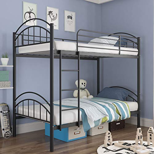 mecor Twin Over Twin Bunk Bed, Convertible Into 2 Individual Metal Twin Bed Frame for Boys, Girls,...