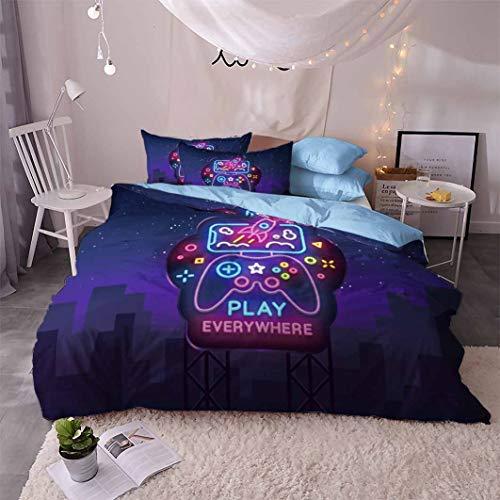 Helengili 3D-Bettwäsche-Set, Retro-Spiel-Serie, bedruckt (Bettbezug + 2 Kissenbezüge), Spielgriff-Muster, Bettbezug-Sets ohne Füllung (2, Superking)