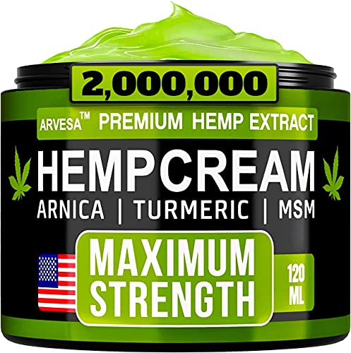 Hemp Cream - Muscle Pain Relief - Made in USA - Soothe Feet, Joints, Knees, Back, Shoulders- Natural Hemp Oil Extract Gel with MSM - Arnica - Turmeric