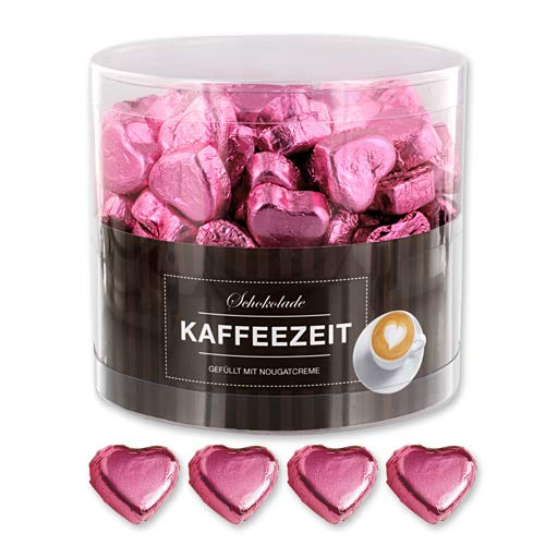 Günthart 150 rosa Schokoladen Herzen mit Nougatfüllung - Nougatcreme Kaffeezeit
