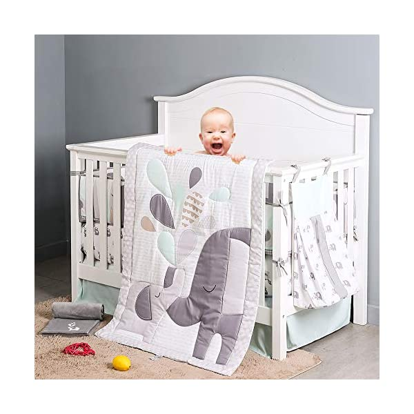 Brandream Playful Elephant Baby Crib Bedding Set for a Boy, Girl and Unisex Nursery Bedding Set