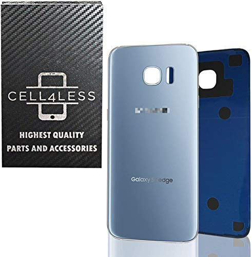 CELL4LESS Replacement Back Glass Cover Back Battery Door w/Pre-Installed Adhesive Samsung Galaxy S7 Edge OEM - All Models G935 All Carriers- 2 Logo - OEM Replacement (Blue Coral)