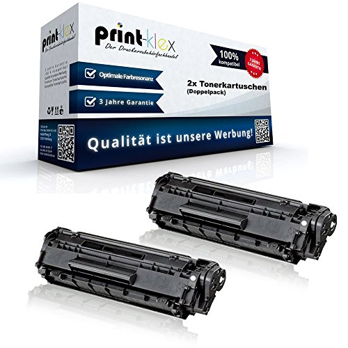 2x Print-Klex Alternative Tonerkartuschen kompatibel für HP LaserJet 1010 1012 1015 1018 1020 1022 1022N Q2612A HP12A HP 12A Black XXL - Color Edition Serie