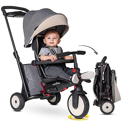 smarTrike STR5 Klappbares Kleinkinder-Dreirad mit Kinderwagen-Zertifizierung für 1,2,3 Jahre - 7 in 1 Mehrstufiges Dreirad (Grau)