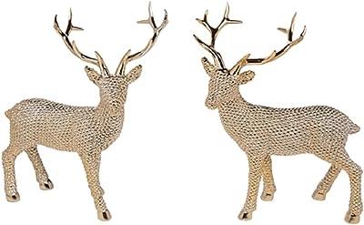 Transpac Set of 2 Resin Shiny Gold Large Standing Reindeer