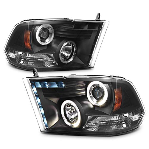 For 09-18 Dodge Ram Pickup Truck Black Bezel Dual Halo Ring LED Projector Headlights Replacement Pair
