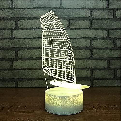 DXJA HCDZF 3D ilusión lámpara 3D noche luz creativa barco noche lámpara especial dormitorio pequeños accesorios regalo para cumpleaños