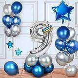 MMTX Cumpleaños Globos 9 Años Azul, Decoracion Cumpleaños Globos de Látex para Cumpleaños para Niños (9 Años)