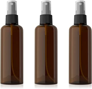 RVOF Plastic Empty Spray Bottle 100ml, Small Fine Mist, Refillable Spray Container -for Essential Oils, Travel, Perfumes -Brown (3Pcs Pack)