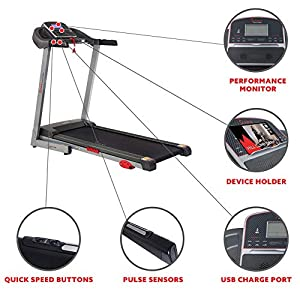 Sunny Health & Fitness Electric Folding Treadmill with Manual Incline, LCD and Pulse Monitor, USB Charging and Tablet Holder, 220 LB Max Weight - SF-T7860