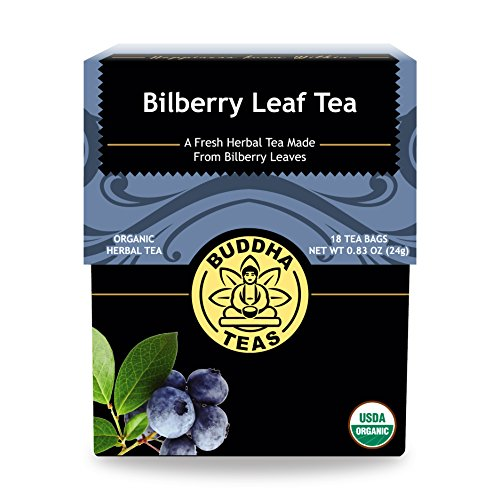 Buddha Teas Organic Bilberry Leaf Tea - Soothing Herbal Tea with Relaxing Qualities, Good Source Antioxidants, Vitamins and Minerals   Kosher, Caffeine-Free, GMO-Free   18 Bleach-Free Tea Bags
