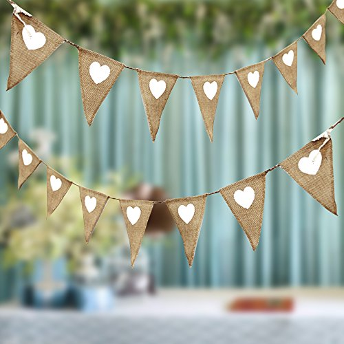 Enjoygoeu Wimpelkette Jute Hochzeit Herz 3er Set Wimpel Girlande 3M Rustikale Sackleinen Bunting Banner Vintage Party Weihnachten Deko