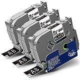3x Labelwell 18mm x 8m Kompatibel Schriftband Ersatz für Brother Tz Tze-345 Tze345 Tz345 Weiß auf Schwarz für Brother P-Touch PT-D450VP PTD400 PTE300VP PTE500VP PT-P900W PT-P950NW PTD600VP PT-P750W