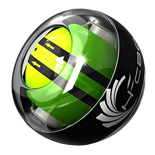 スナップボール オートスタート LED発光 手首 リストトレーナー 腕力 握力 筋力 トレーニング ジャイロ回転 自動回転 初心者 上級者 専用ケース付きで収納も便利 (グレー)