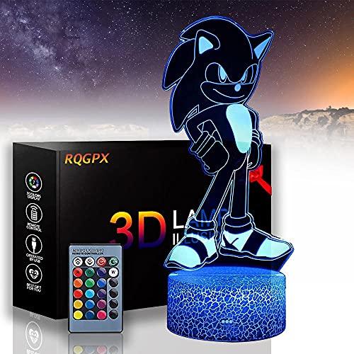 Sonic The Hedgehog H Lámpara de ilusión 3D de 16 colores que cambian de luz de noche LED de acrílico con, escultura de arte luces decoración del hogar, cargador USB, regalos bonitos