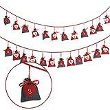 WOMA DIY Adventskalender zum Befüllen Stoff - 7 Ausführungen - Weihnachtskalender & Adventskalender Säckchen selberfüllen & aufhängen - Geschenk für Damen, Herren & Kinder - Grau, Rot, Weiß