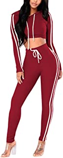Womens 2 Piece Outfit Sport Bodycon Crop Top Long Pant Tracksuit