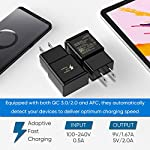 Adaptive Fast Charging Wall Charger Adapter Compatible Samsung Galaxy S6 S7 S8 S9 S10 / Edge/Plus/Active, Note 5,Note 8, Note 9,LG G5 G6 G7 V20 V30 ThinQ Plus EP-TA20JBE Quick Charge (2 Pack) 9 Fast charging compatible with: Samsung Galaxy S6/ S6 edge/ S6 Plus/ S6 Active/ S7/ S7 edge/ S7 Plus/ S7 Active/ S8/ S8 Plus/ S8 Active/ S9/ S9 Plus/ S9+/ S10/ S10 Plus/ S8/ S8+/ Note 8/ Note 9, LG G5 G6 G7 V20 V30 ThinQ plus and other quick charger 2. 0 ( QC2. 0 )Supported devices. ( Samsung fast charger ) Adaptive fast charge: adaptive fast charger Charge for 30 minutes, up to 50% battery level, 75% faster than standard chargers. Perfect design: Lightweight, compact design that fits your storage requirements. You can take it when you travel, make it easy to charger your smartphones specification: Input 100-240V/ output 9V = 1. 67a or 5. 0V = 2. 0a.