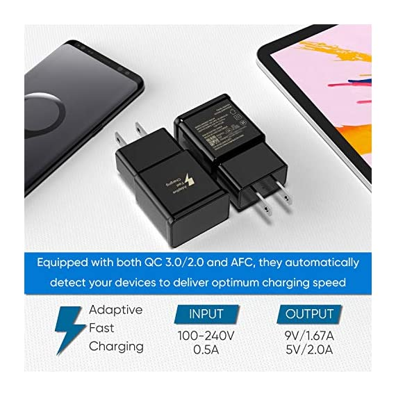 Adaptive Fast Charging Wall Charger Adapter Compatible Samsung Galaxy S6 S7 S8 S9 S10 / Edge/Plus/Active, Note 5,Note 8, Note 9,LG G5 G6 G7 V20 V30 ThinQ Plus EP-TA20JBE Quick Charge (2 Pack) 2 Fast charging compatible with: Samsung Galaxy S6/ S6 edge/ S6 Plus/ S6 Active/ S7/ S7 edge/ S7 Plus/ S7 Active/ S8/ S8 Plus/ S8 Active/ S9/ S9 Plus/ S9+/ S10/ S10 Plus/ S8/ S8+/ Note 8/ Note 9, LG G5 G6 G7 V20 V30 ThinQ plus and other quick charger 2. 0 ( QC2. 0 )Supported devices. ( Samsung fast charger ) Adaptive fast charge: adaptive fast charger Charge for 30 minutes, up to 50% battery level, 75% faster than standard chargers. Perfect design: Lightweight, compact design that fits your storage requirements. You can take it when you travel, make it easy to charger your smartphones specification: Input 100-240V/ output 9V = 1. 67a or 5. 0V = 2. 0a.
