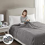 Beautyrest Electric Ribbed MicroFleece Luxury Soft Blanket-Secure Comfort Technology-Two 20-Setting Heat Controllers for Bed or Couch, King, Grey