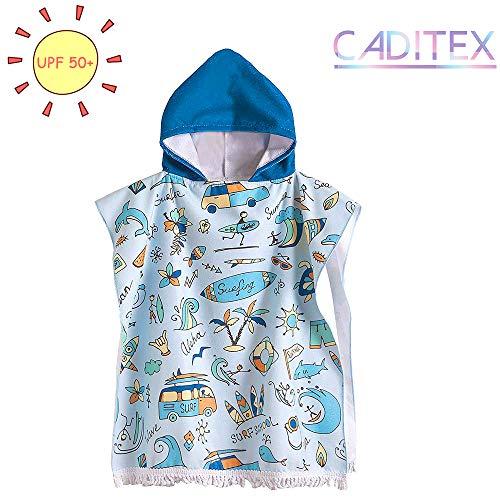 CADITEX - Toallas de playa para niños de 2 a 7 años - Poncho de piscina con capucha para niños y niñas con dibujos animados