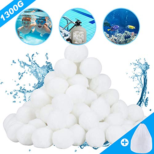 Aitsite Filterbälle 1300g 14.8 Liter Filter Balls (mit Wäschenetze) ersetzen 46 kg Filtersand für Pool Sandfilter, Schwimmbad, Filterpumpe