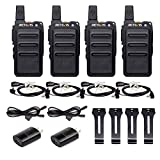 Retevis RT19 Walkie Talkies Adults Rechargeable,2 Way Radios Long Range,Portable Two-Way Radios,Mini,Hands Free,1300mAh Battery,Metal Clip,with Earpiece(4 Pack)