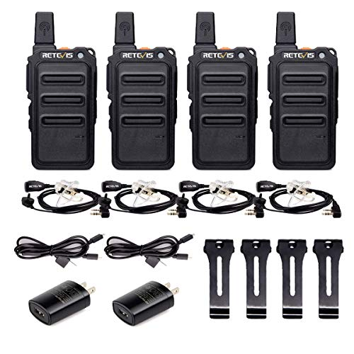 Retevis RT19 Walkie Talkies Adults Rechargeable,2 Way Radios Long Range,Portable FRS Two-Way Radios,Mini,Hands Free,1300mAh Battery,Metal Clip,with Earpiece(4 Pack)